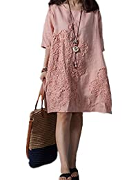 Women's A-line Cotton Linen Embroidery Floral Summer Casual Loose Dress