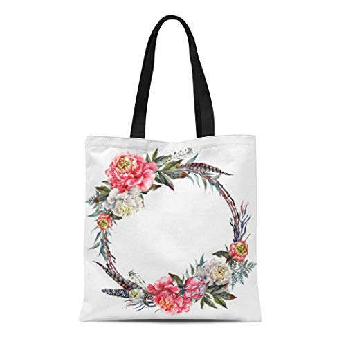 Semtomn Cotton Canvas Tote Bag Watercolor Floral Wreath Made of Peonies Leaves Pheasant Feathers Reusable Shoulder Grocery Shopping Bags Handbag Printed - Pheasant Feather Wreaths