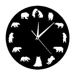 xushihanjjli Wall Clock,Stylish Modern Wall Clocks Bear Grizzly American Forest Mountain Animal Nursery Bear with Different Pose Minimalist Design Office School Children's Bedroom Living Home Decor