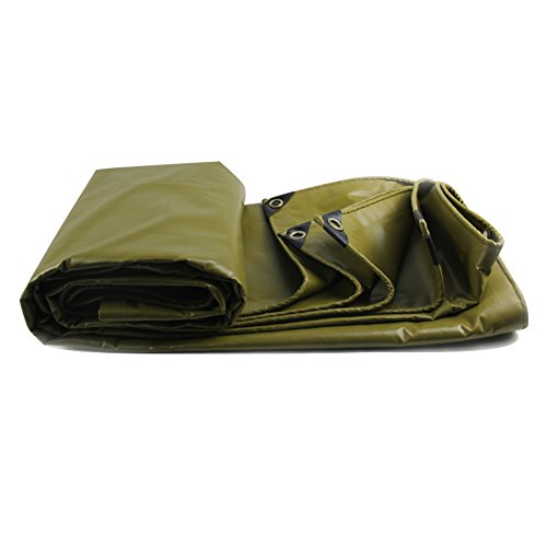 Outdoor Heavy Duty Rainproof Tarpaulin with Eyelets Encryption Sunscreen Canvas Shade Tarp Sheet Awning - 580g/m², Ginger Yellow (Size : 3m x 3m)