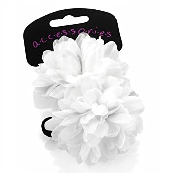 Pair of gorgeous white flower small hair ponios many colours pair of gorgeous white flower small hair ponios many colours available mightylinksfo