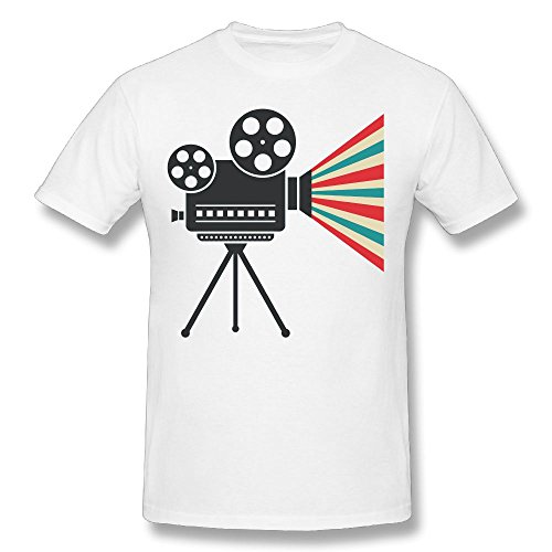 Price comparison product image Michelle B. Men's Film Projector 3D Printed T-Shirt O Neck Short Sleeve Tee White