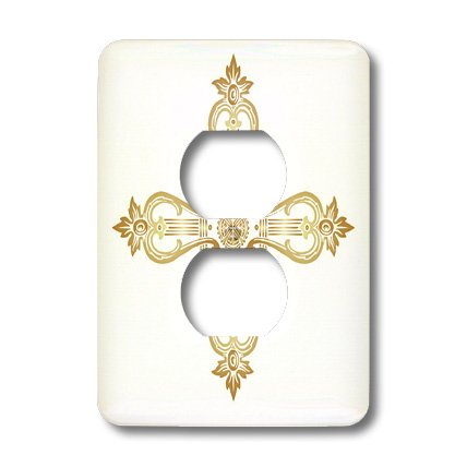 lsp_38400_6 TNMGraphics Faith - Golden Ornate Cross - Light Switch Covers - 2 plug outlet cover by 3dRose