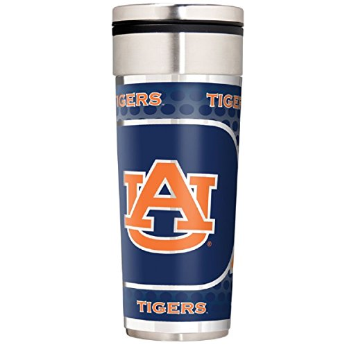 Great American Products NCAA Auburn Tigers Travel Tumbler with Metallic Graphics, 22-Ounce, Silver