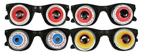 Black Duck Brand Set of 4 Eyeball Spring Glasses! Funny Gag Glasses! Prank Glasses Perfect for Toys, Costumes, Pranks, Party Favors, Halloween and More! (4)