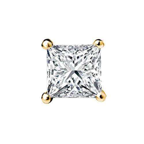 PARIKHS Princess Single Diamond Stud Promo Quality in Yellow Gold (0.04 (0.04 Ct Diamond Fashion)