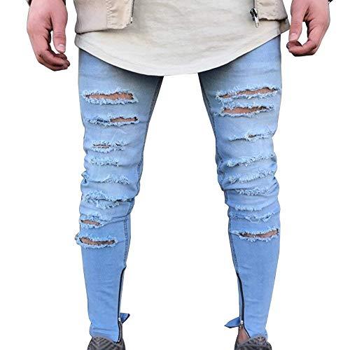 Jeans Strappati Bolawoo Mode Distrutti Pantalone Di Blau Buco Denim Con Slim Pantaloni Marca Uomo Casual Da In A Chiusura Fgxwqx