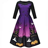 Ulanda 2018 New Women Halloween Printing Three Quarter Sleeves Elegant Evening Party Prom Costume Swing Dress (XL, Purple)