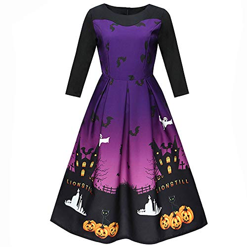 lotus.flower 2018 Women Halloween Printing Three Quarter Casual Evening Party Prom Swing Dress (XL, Purple) by Lotus.flower