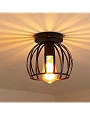 iDEGU Vintage industriële plafondlamp met metalen kooi, hanglamp, geometrisch design, E27 plafondlamp voor slaapkamer, café, restaurant, hal, gang, 20 cm, zwart