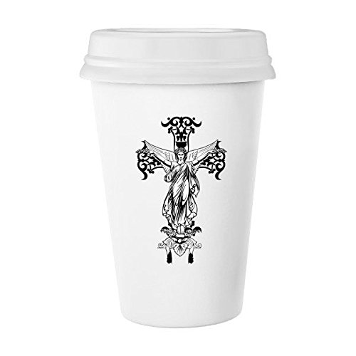 Religion Christianity Belief Church Black Holy Cross Angle Culture Design Art Illustration Pattern Classic Mug White Pottery Ceramic Cup Milk Coffee Cup 350 ml by DIYthinker
