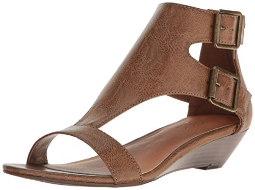 Sugar Womens' Wigout Demi Wedge T-Bar Open Toe Buckle Sandal, Dark Brown Dist, 9.5 M US (Wedge Sandals T-bar)