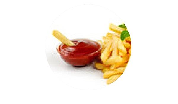 alfombrilla de ratón Patata Frita con el tomate en el fondo ...