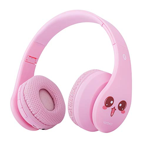 VOTONES Wireless Headphones for Girls Kids Over Ear Bluetooth Headphones 85dB Volume Limiting,Foldable Stereo Sound Headset with Microphone 3.5mm Jack SD Card Slot for Smartphone PC Tablet(Pink) by Votones