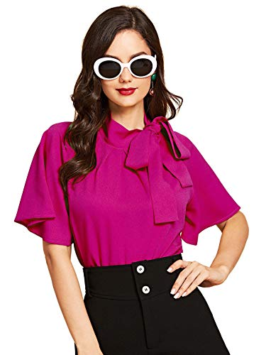 (SheIn Women's Casual Side Bow Tie Neck Short Sleeve Blouse Shirt Top (Medium, Hot Pink))