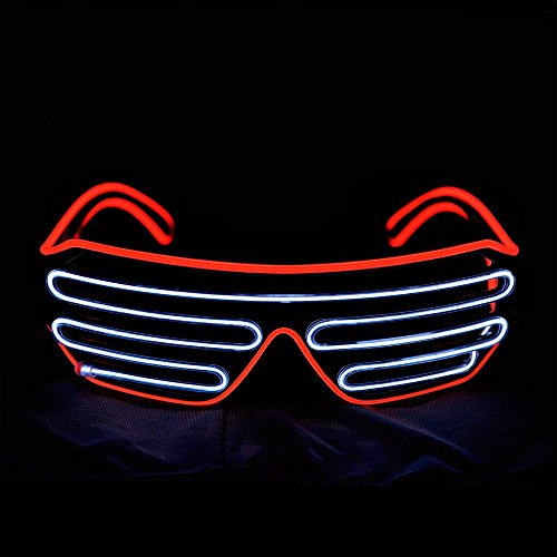 EL Wire Light Up Glasses NHsunray LED Sound Activated Glowing Eye glasses for Halloween Bar Glowing Party Masquerade Nightclub Concerts Clubbing - Sunglasses Sunray