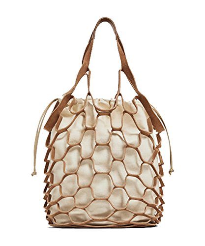 Nautical Purse Beach Bag Tote Inspired By a Fishnet (Medium, Tan) ()
