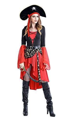 Tokyo Girl Halloween Costume (TOKYO-T Pirate Costumes for Women Skirt Sexy Halloween Cosplay Adult Swashbuckler (US6-8))