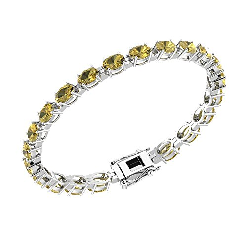 - Solid Sterling Silver 6x4mm Oval Cut 9 CTW Citrine Brilliant Sparkle Tennis Bracelet for Women, Box Chain with Safety