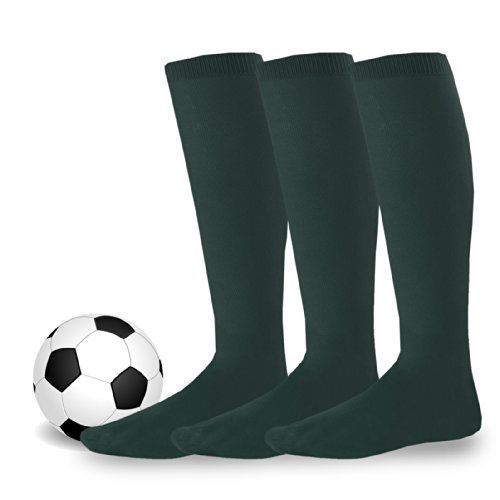 Soxnet Acrylic Unisex Soccer Sports Team Cushion Socks 3 Pack (Youth (5-7), Hunter Green)