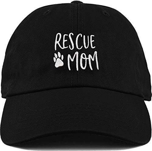 H-214-RM06 Dad Hat Unconstructed Baseball Cap: Rescue Mom (Paw)