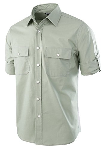 Estepoba Men's Premium Casual Stretch Long Sleeve Solid Button-Down Work Shirt Sage Green (Solid Long Sleeve Button)
