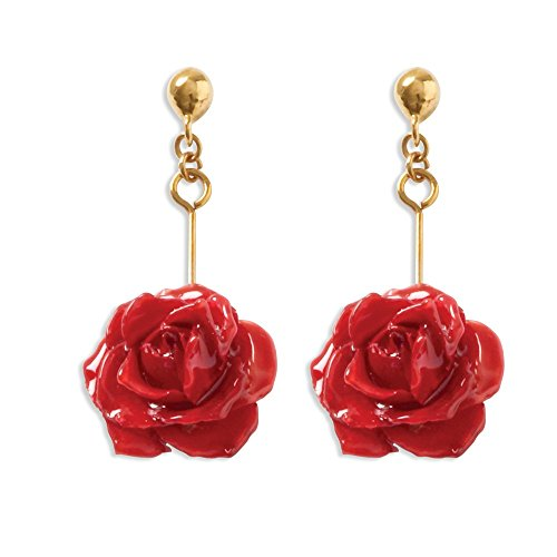 - Goldia Lacquer Dipped Red Rose Dangle Earrings