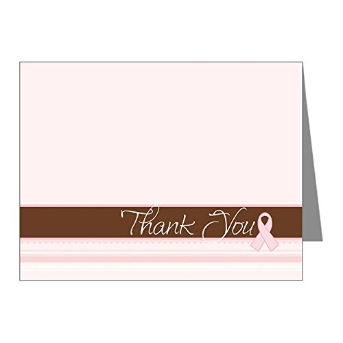 CafePress - Chic Pink Ribbon Thank You Cards (Pk Of 10) - Blank Note Cards (Pk of 10) (Breast Cancer Thank You Cards)