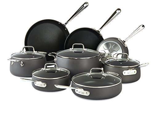 All-Clad E785SB64 HA1 Hard Anodized Nonstick Dishwasher Safe PFOA Free Cookware Set, 13-Piece, Black (All Clad Cooking Set)