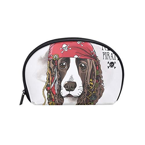 (Senya Travel Cosmetic Bag Small Makeup Portable Carry Case Pouch Girls Women Personalized Organizer Tote Bag For Jewelry Toiletries Portrait Spaniel Dog Pirate Bandana Dreadlocks)