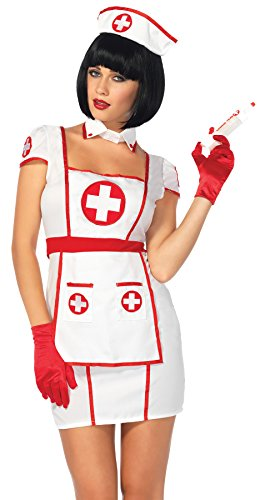 [UHC Nurse Heart Breaker White Uniform Hospital Womens Halloween Costume, S/M (4-8)] (Women's Plus Size Nurse Heartbreaker Costumes)