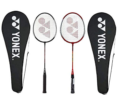 Yonex GR303 Aluminum Badminton Racquet with Cover, Pack of 2 (Red/Black)