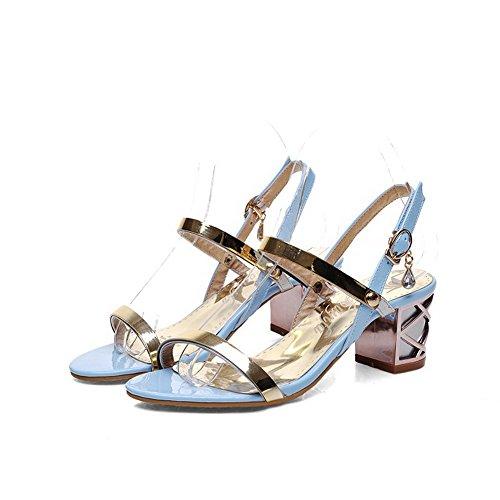 AgooLar Women's Buckle Kitten Heels Pu Solid Open Toe Sandals Blue LWsBXXBz