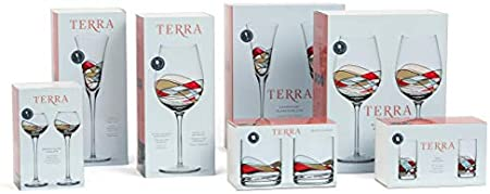 ART ESCUDELLERS 2 Copas de Vino de Colores, Artesanales y Pintadas a Mano por Artistas Europeos. Vino Blanco, Tinto y Rosado - Colección Terra