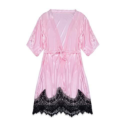 YOcheerful New Women Lingeries Sexy Silk Kimono Satin Bathrobe Lace Lingerie Nightdress Pajamas Robe Loose Lingeries (Pink, L) ()