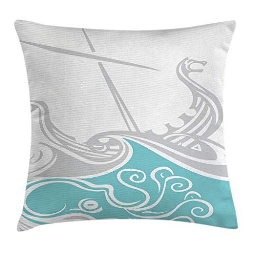 """Ambesonne Kraken Throw Pillow Cushion Cover, Viking Longship Sailing into The Waves with Scandinavian Shields Retro Display, Decorative Square Accent Pillow Case, 20"""" X 20"""", Grey Blue"""