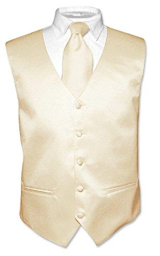 (Men's Dress Vest & Necktie Solid Light Brown Color Neck Tie Set sz 2XL)