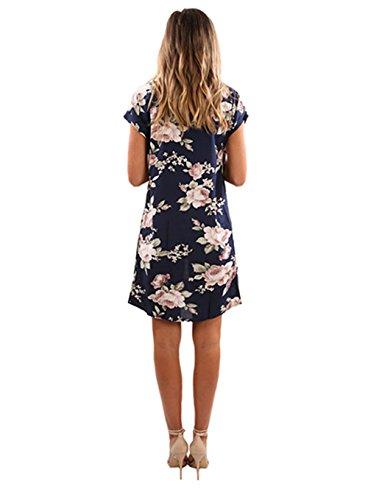 Neck Blue Shirt Fall Casual JustVH Print A Navy T Line Sleeve Floral Women's Dress Crew Short w1WZqWXg