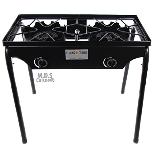 Double Two Burner Stove Heavy Duty Outdoor Stand Portable BBQ Grill Camping