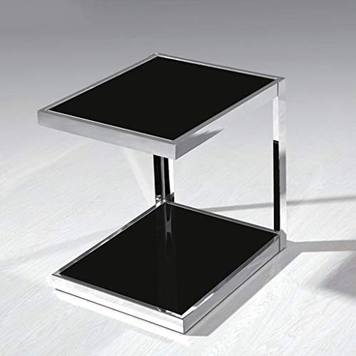 Bedside table GJM Shop Stainless Steel + Tempered Glass Stylish Simplicity Telephone Stand Black Square Side Table