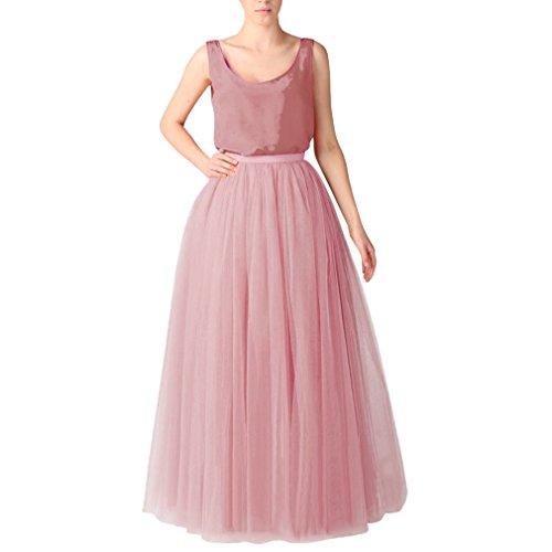 (WDPL Bridal Women's Long Tulle Skirts Layered Puffy Full Length Tutu Petticoat Skirt (X-Small, Dusty Rose) )