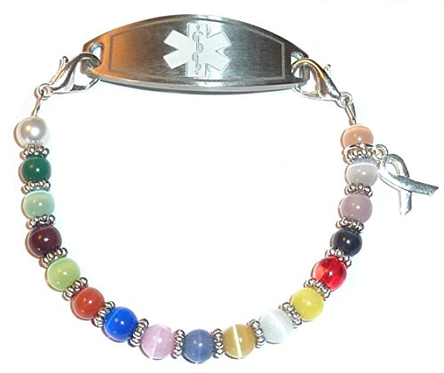 Multi Cancer awareness women's Medical Alert ID Interchangeable Replacement Bracelet by Hidden Hollow Beads (Image #1)'