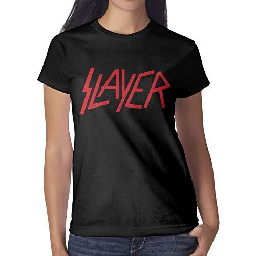 (KINKIN Women Slayer-Classic-Logo- Black Short Sleeved Cotton Tee Shirt)