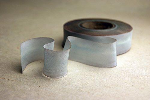2.5'' (62mm) Hand dyed silk ribbon bias cut 38 yard spool - Color 516 Light Grey