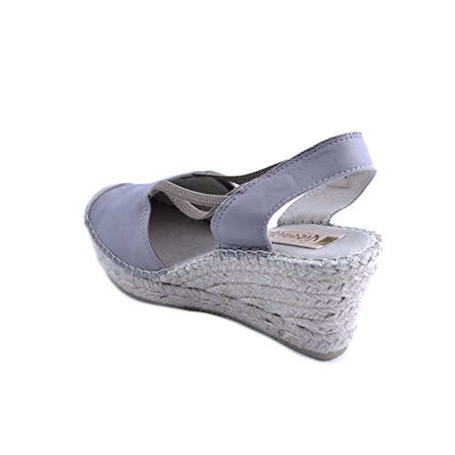Vidorreta Women's Sandals in Light Gray Fabric Closed Toe. 7cm Rafia Wedge with Rubber Sole. Size 37 f5N77QCx3Q