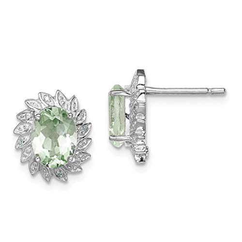 925 Sterling Silver Green Quartz Diamond Post Stud Ball Button Earrings Fine Jewelry For Women Gift Set