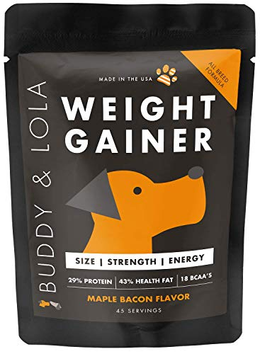 Buddy & Lola Weight Gainer for Dogs - Healthy Weight Gainer Supplement for Dogs - Muscle Builder, Injury Recovery, High Calorie Energy & Performance Supplement for All Breeds. Made in The USA (Best Weight Gainer For Dogs)