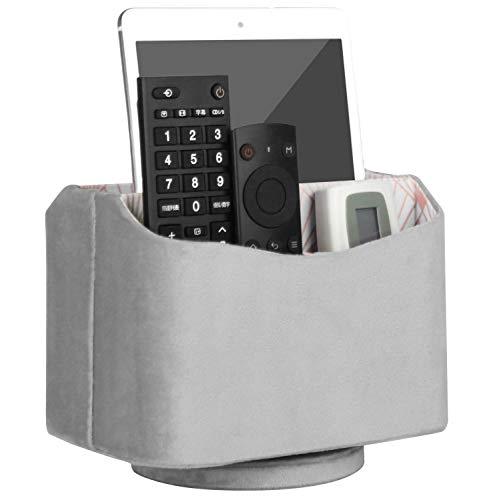 HofferRuffer Remote Caddy, Rotating Remote Control Holder, Spinning Remote Control Holder, Remote Caddy, Nice Velvet Media Storage Organizer, 7.3X 5.5 x 6 inches, Fancy Grey Velvet