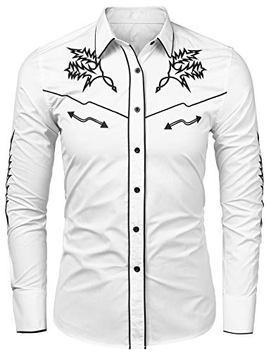 JINIDU Men's Long Sleeve Embroidered Shirt Casual Slim Fit Button Down Western Shirts (X-Large, WXXXX) White -