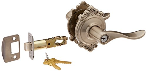 Schlage Lock Company F51AACC619BRK Satin Nickel Accent Keyed Entry F51A Panic Proof Door Lever with Brookshire Rosette